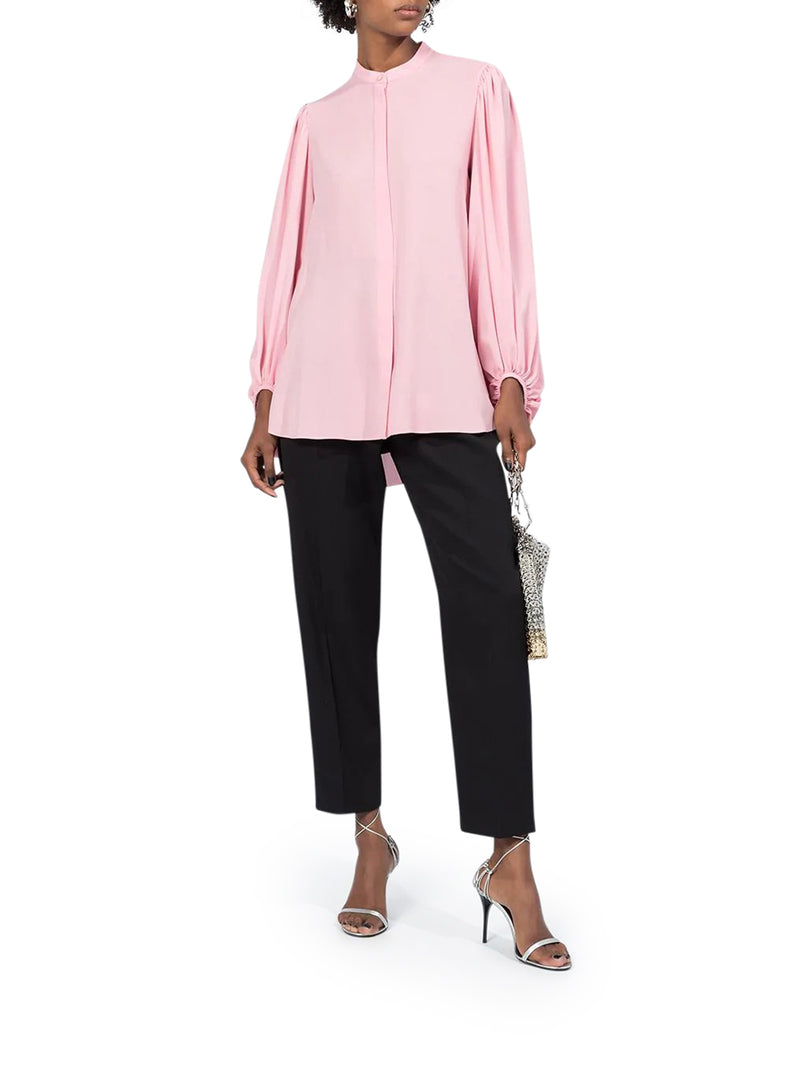 draped sleeves buttoned blouse