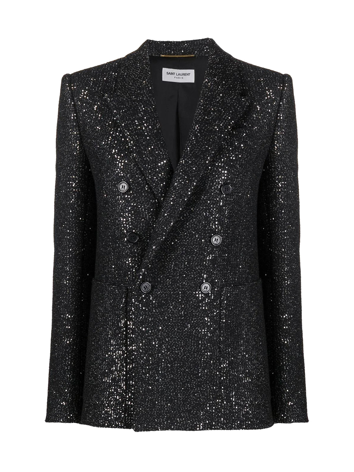 double-breasted glitter blazer