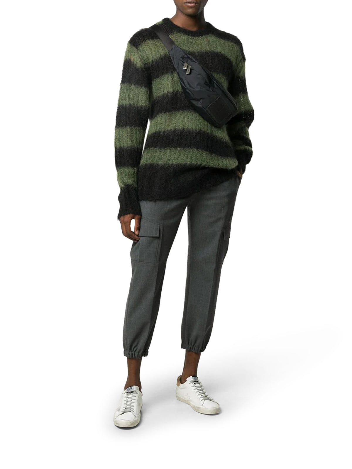 striped mohair-blend jumper