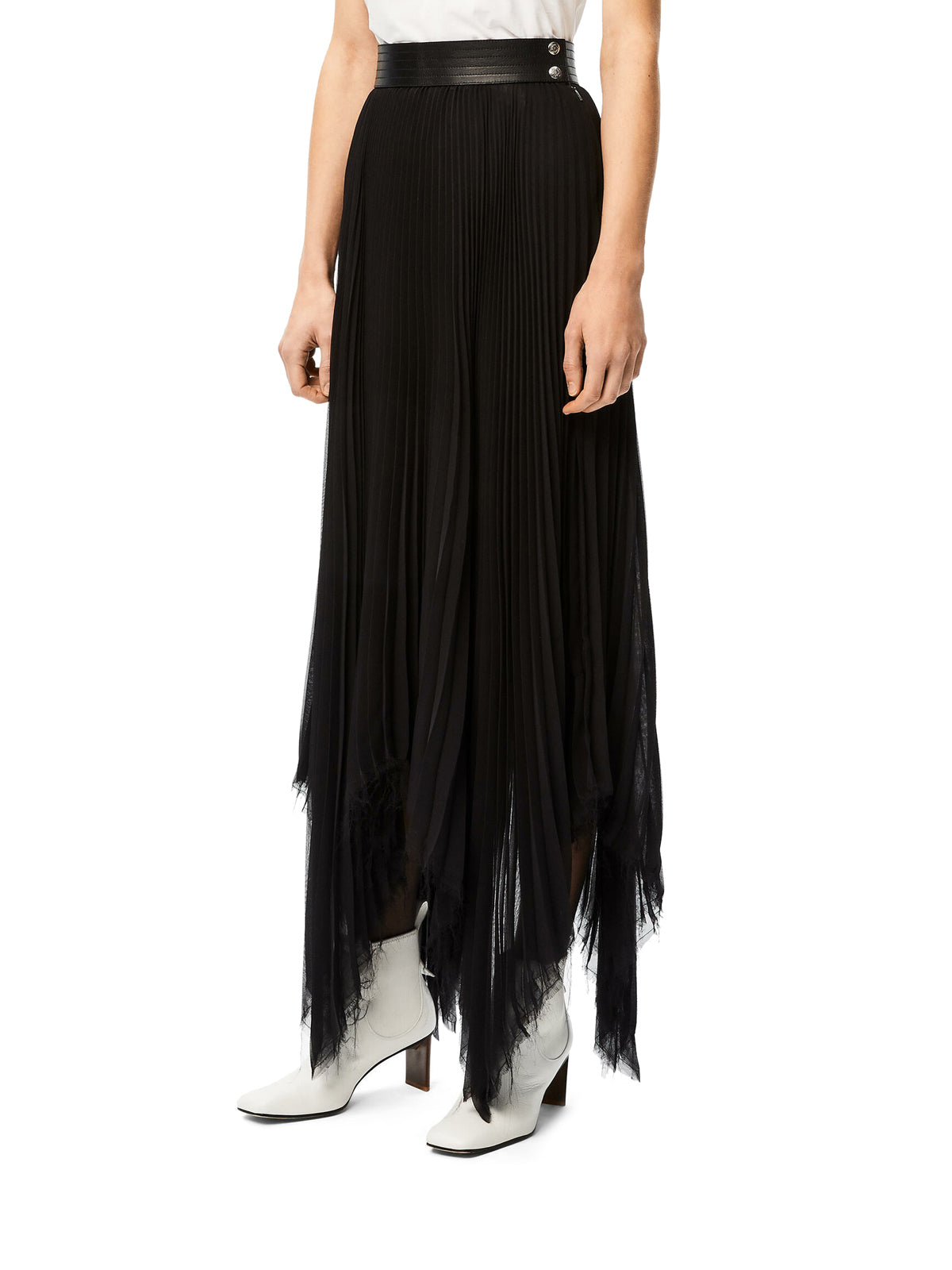 asymmetric pleated skirt with leather belt