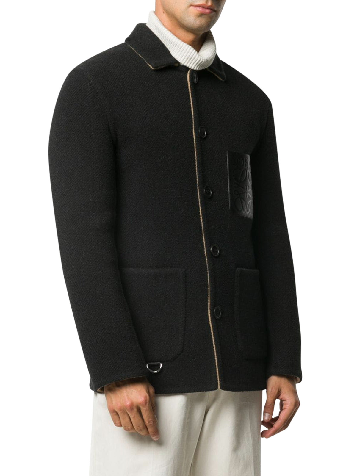 Anagram patch short single-breasted coat