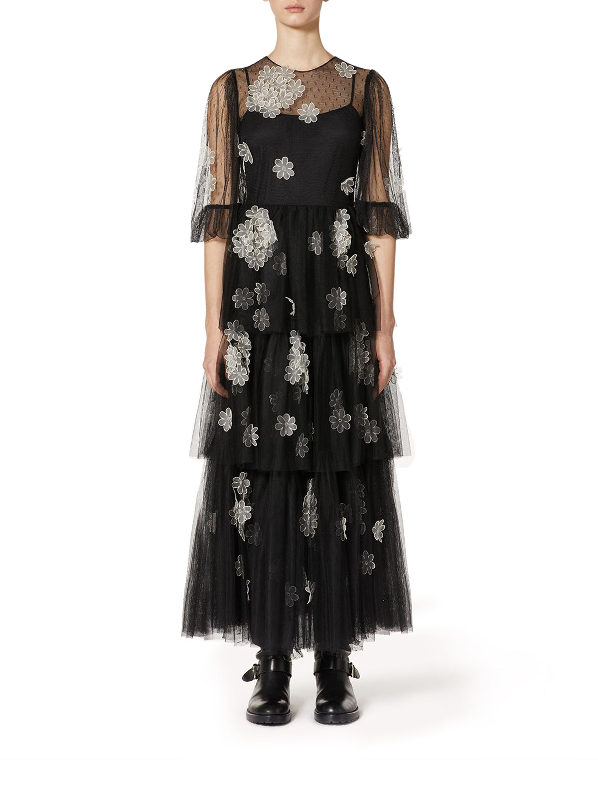 DRESS IN TULLE WITH EMBROIDERED FLOWERS