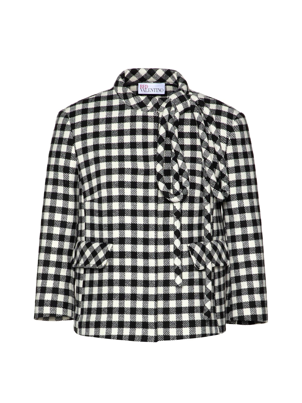gingham-check cropped jacket