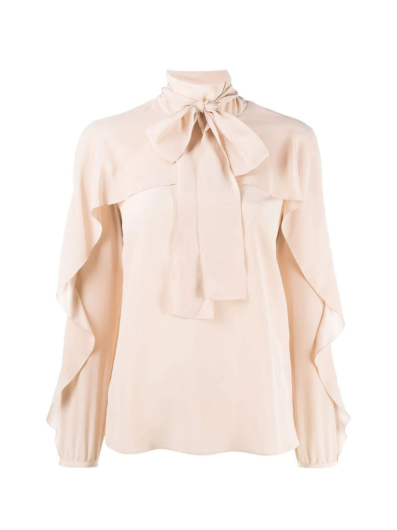 ruffle-detail pussy-bow blouse