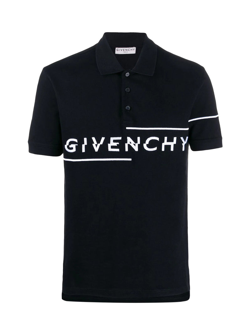 asymmetrical embroidered logo polo shirt