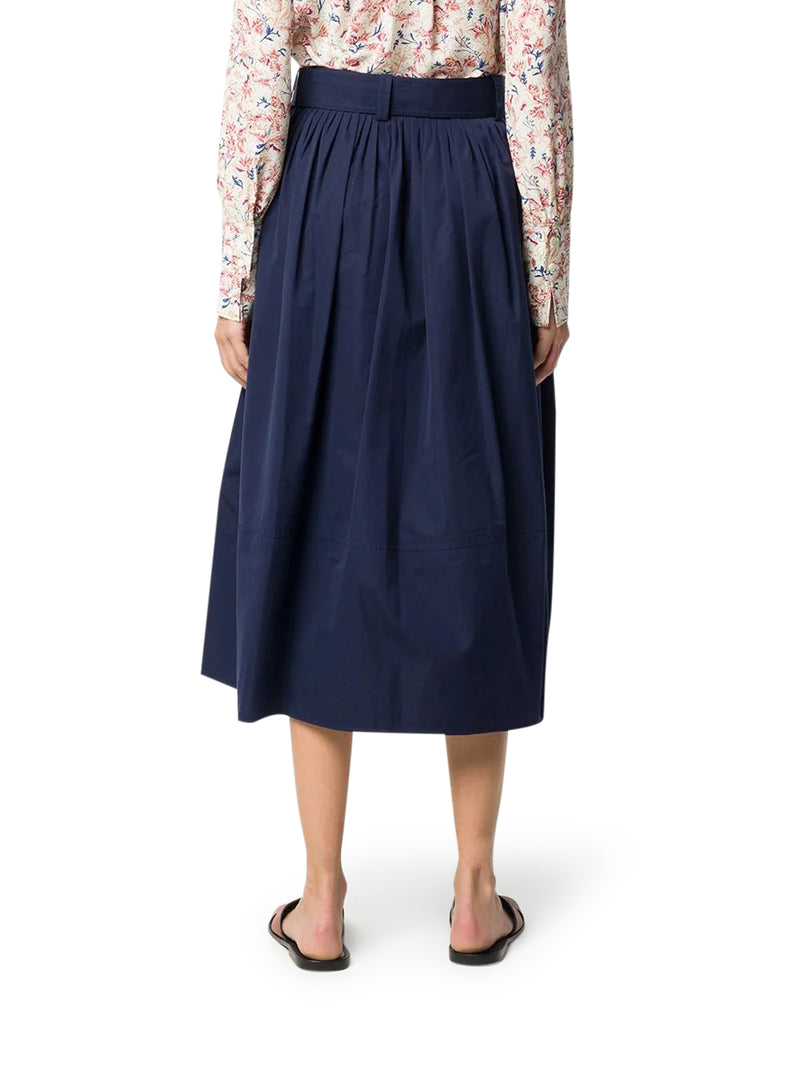 belted midi cotton skirt