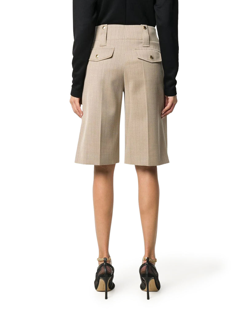 knee-length wool shorts