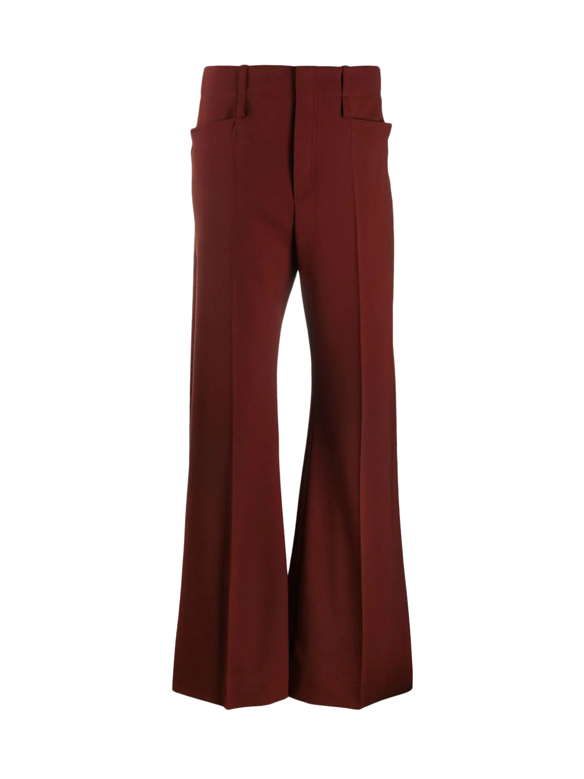 high-rise flared trousers