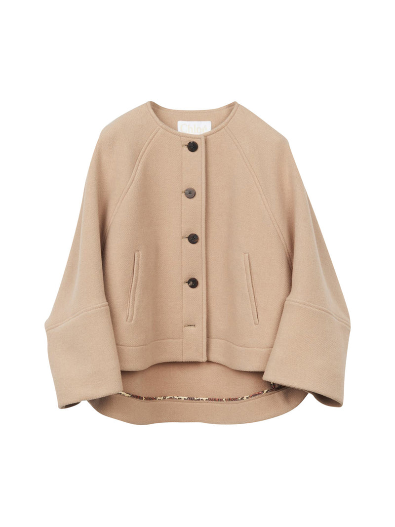 Boxy wool jacket with round neckline