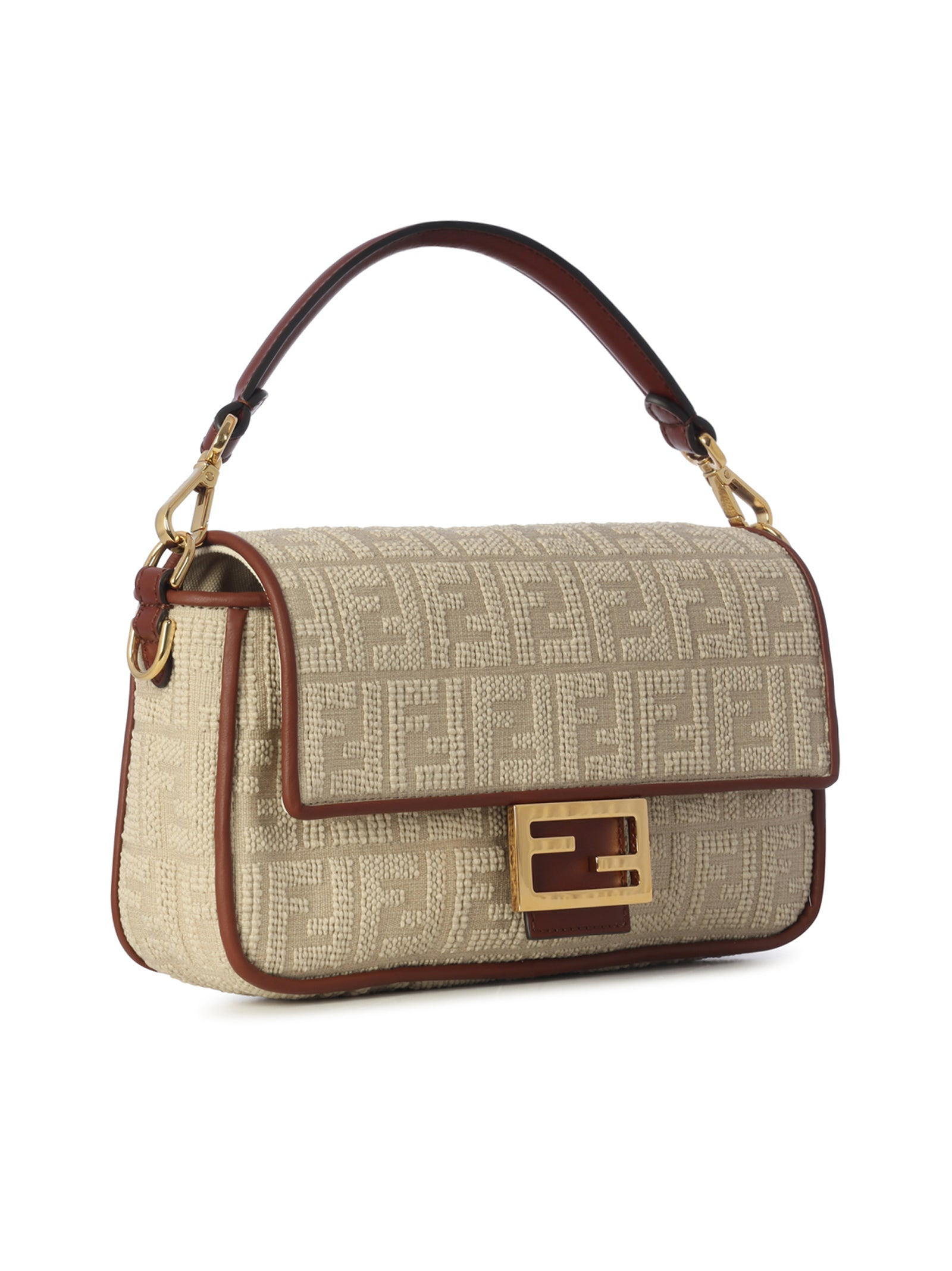 Beige terry baguette bag