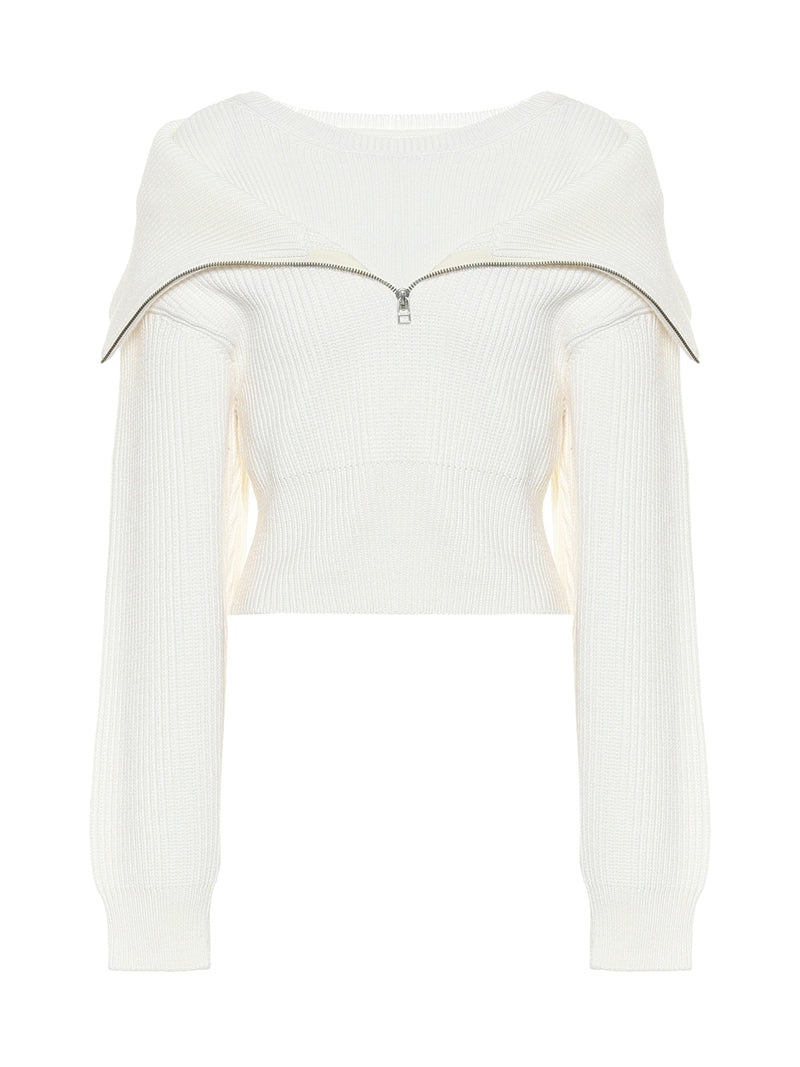 Half zip double sweater