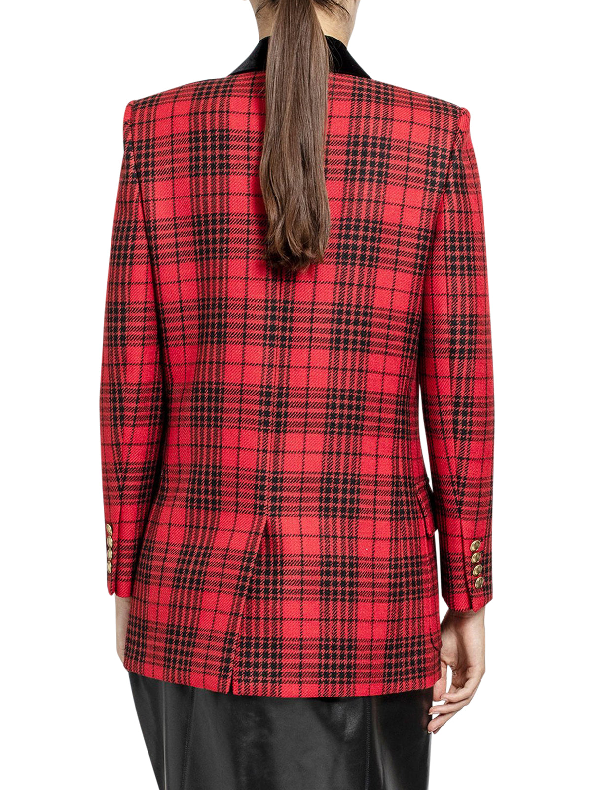 Red double-breasted check blazer in wool