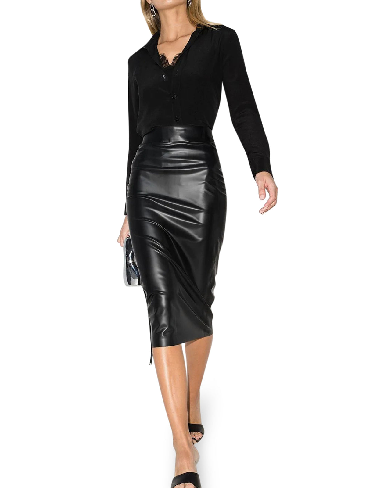 latex-style pencil skirt
