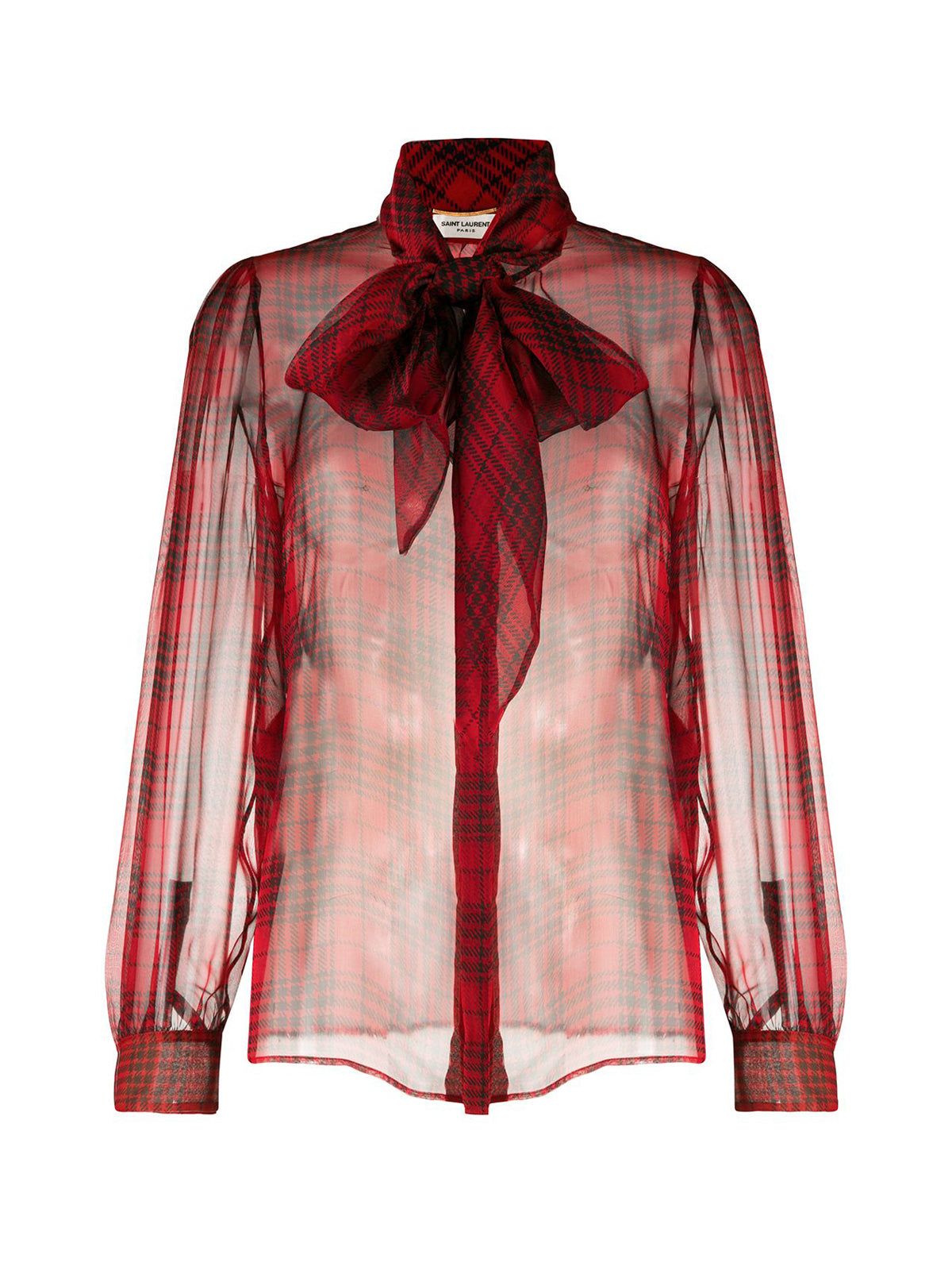 semi-sheer bow-detail silk blouse