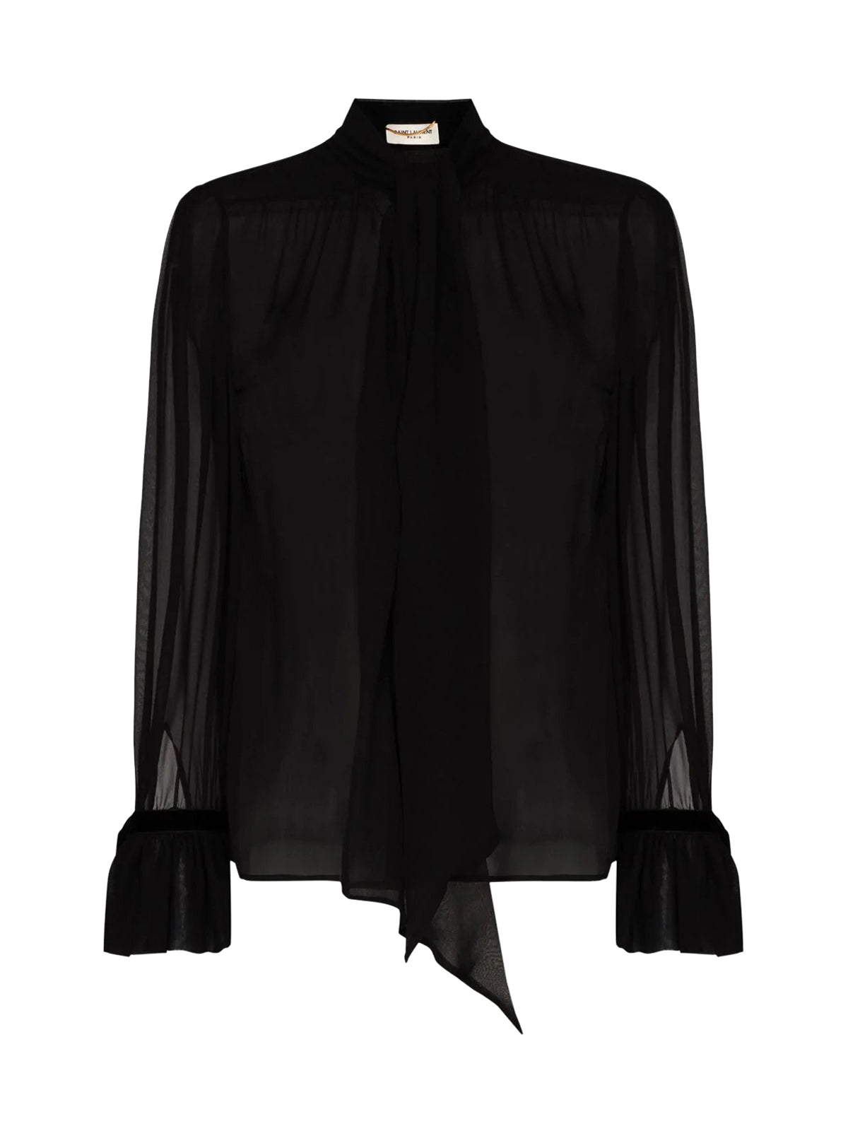 pussy-bow silk blouse