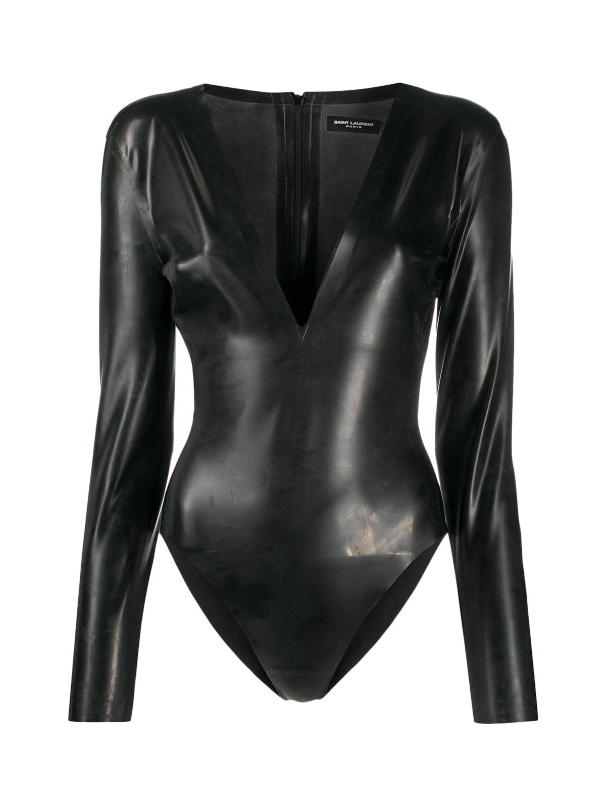 V-neck latex bodysuit
