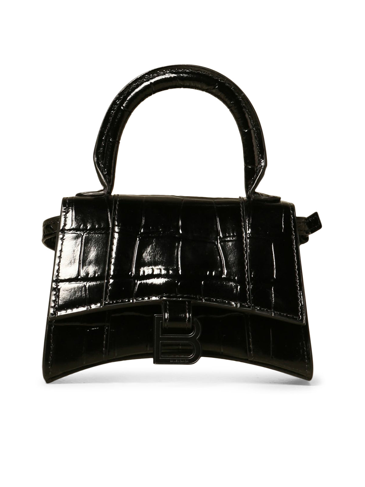 Hourglass micro bag in crocodile print leather