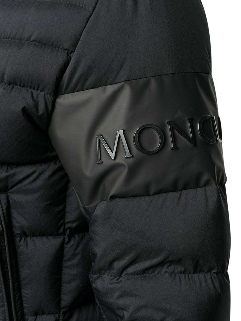 embossed logo quilted jacket