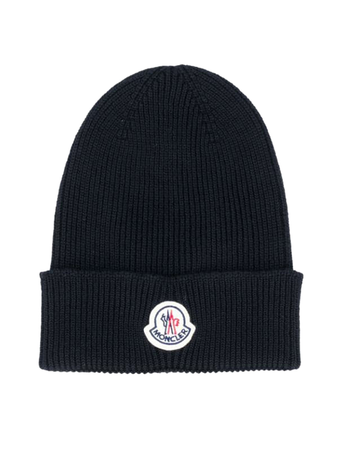ribbed knit logo patch hat