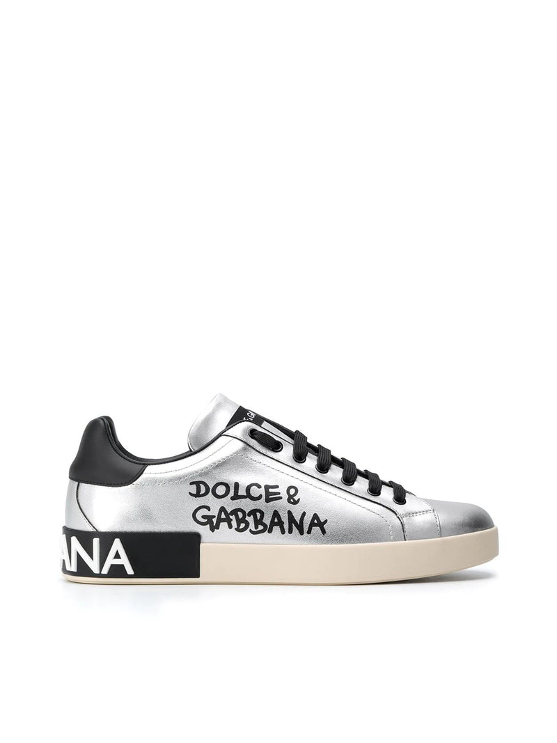 logo print metallic trainers