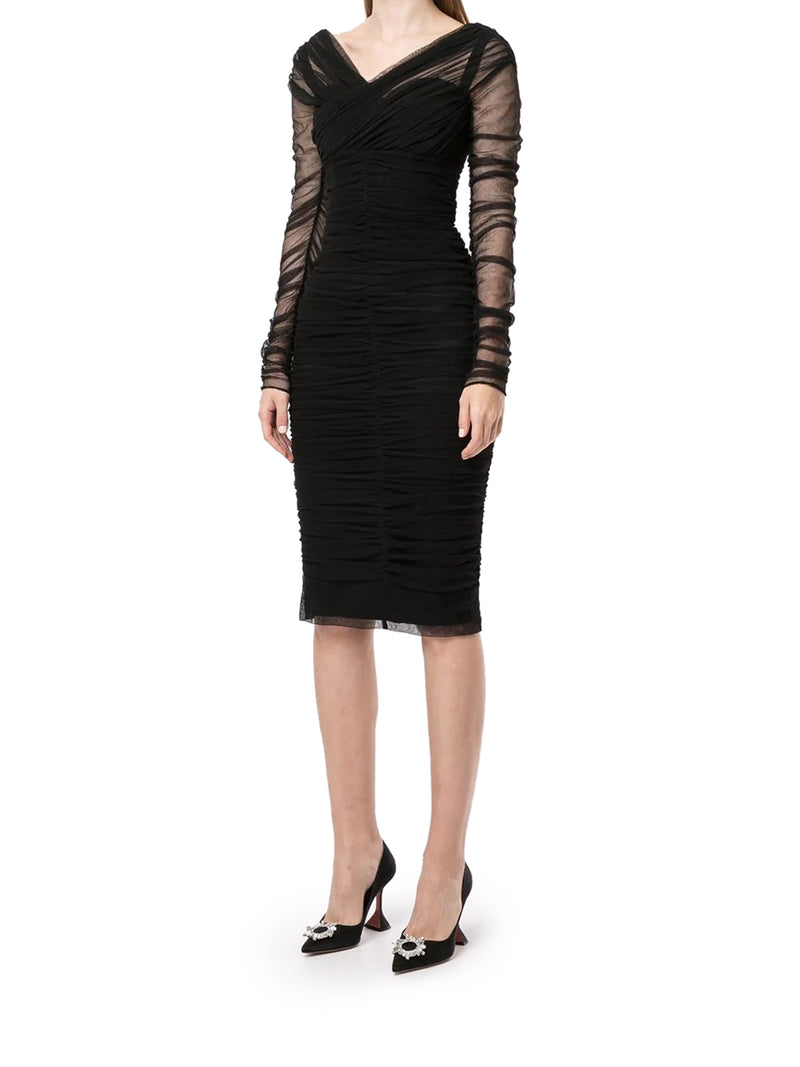 ruched midi dress