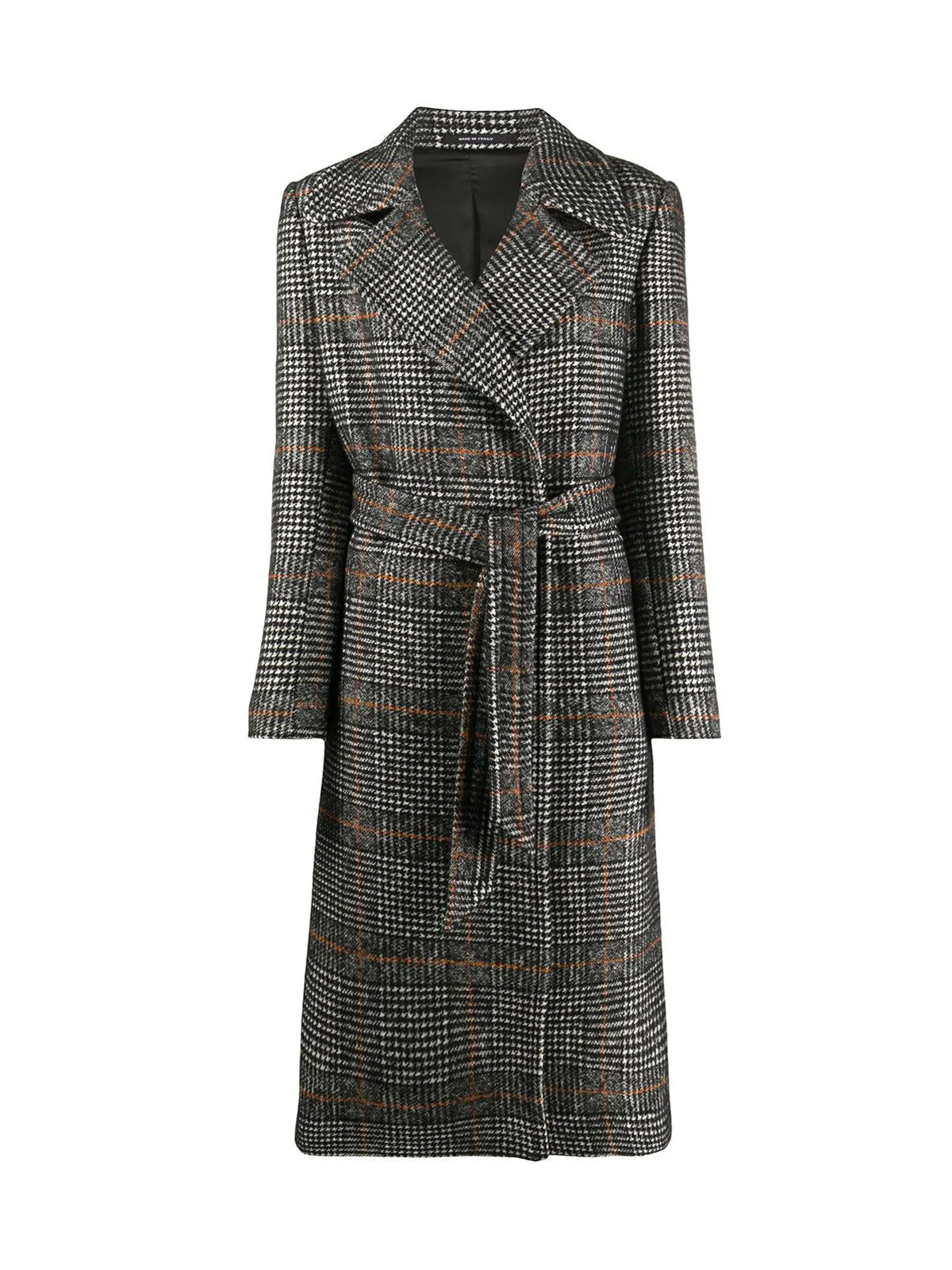 belted check trenchcoat