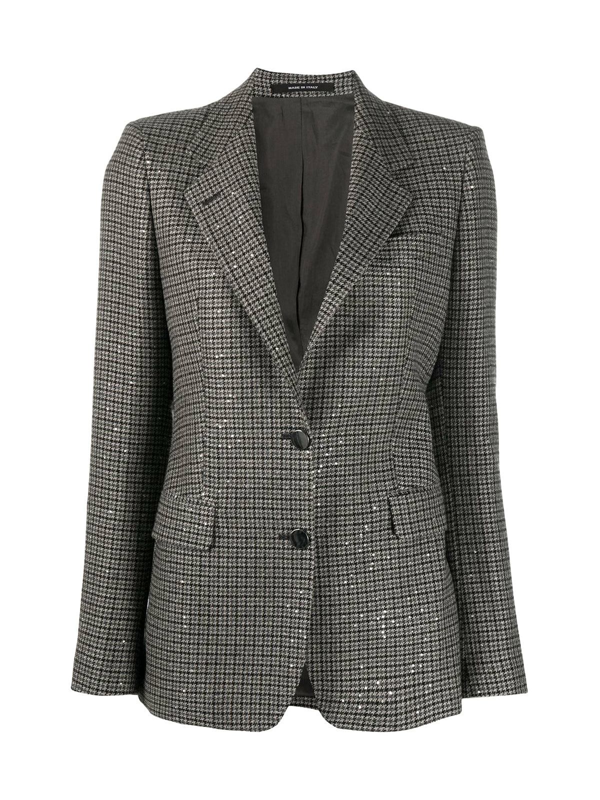 long-sleeved check pattern blazer
