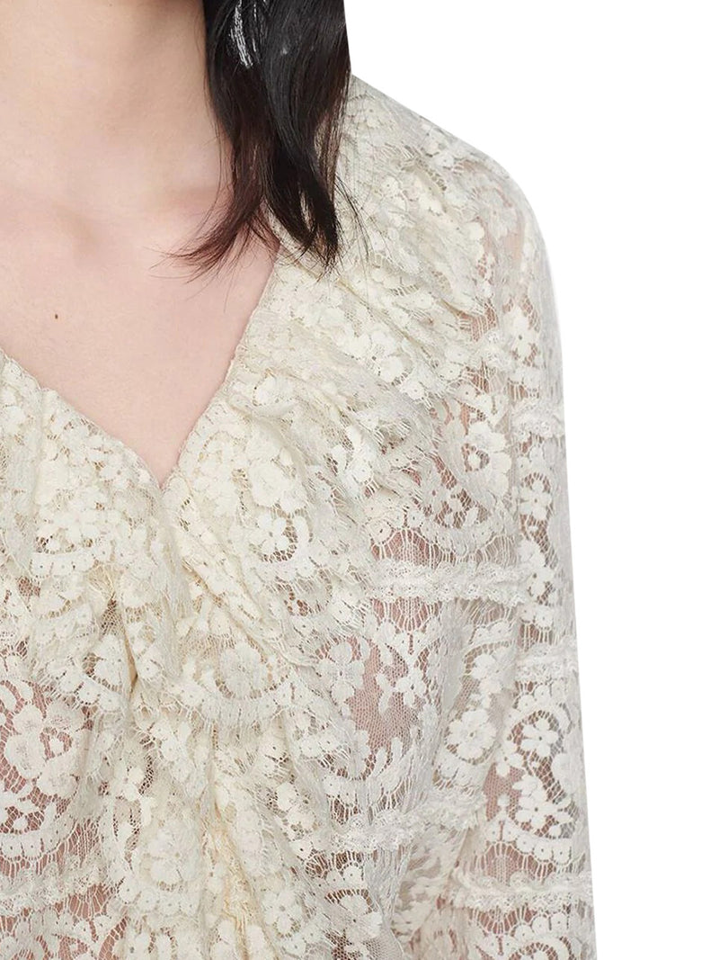 ruffled floral lace blouse