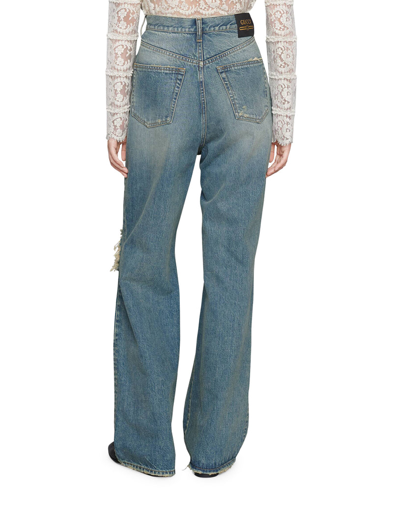Ripped eco washed organic denim pant