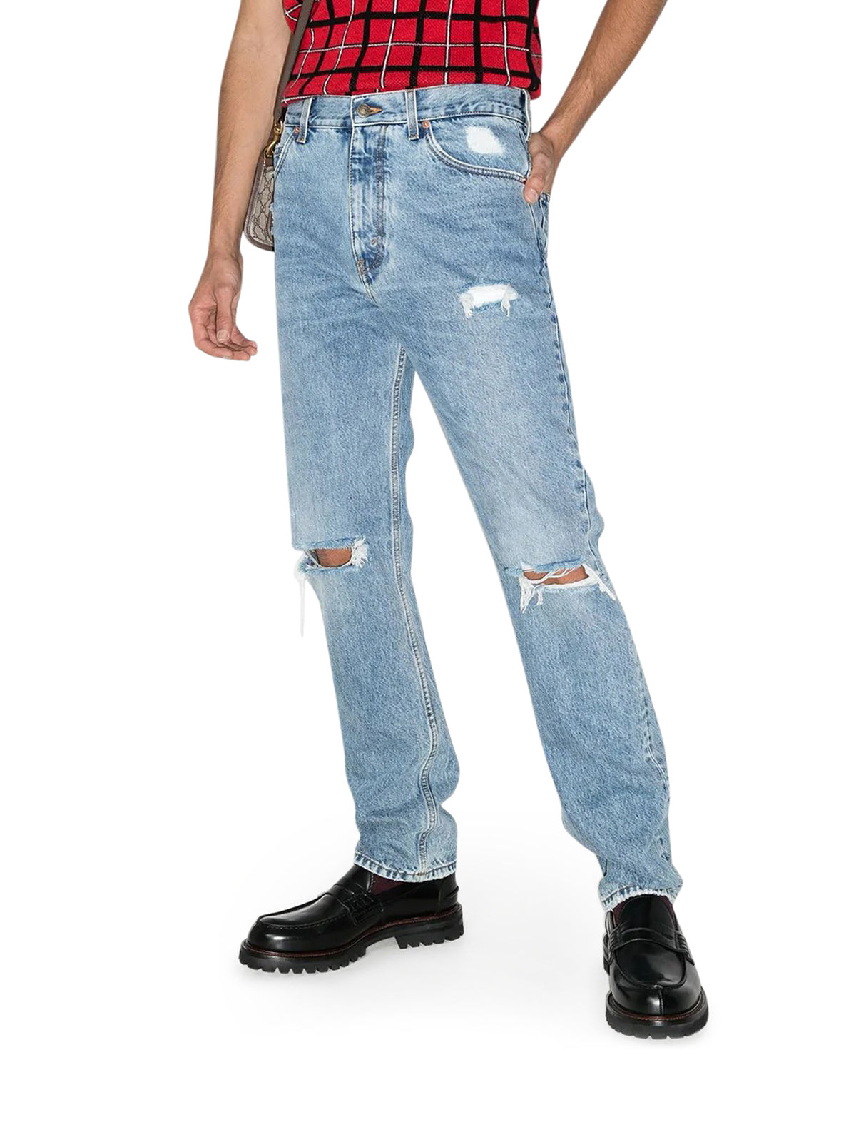 ripped-knee loose-fit jeans