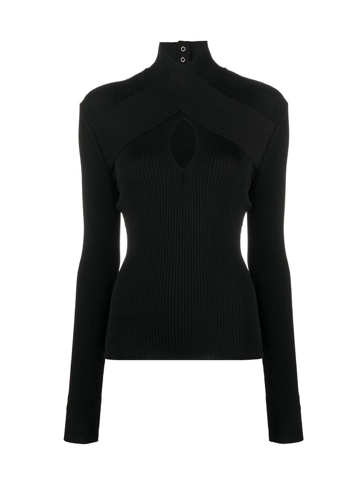 wrap neckline ribbed jumper