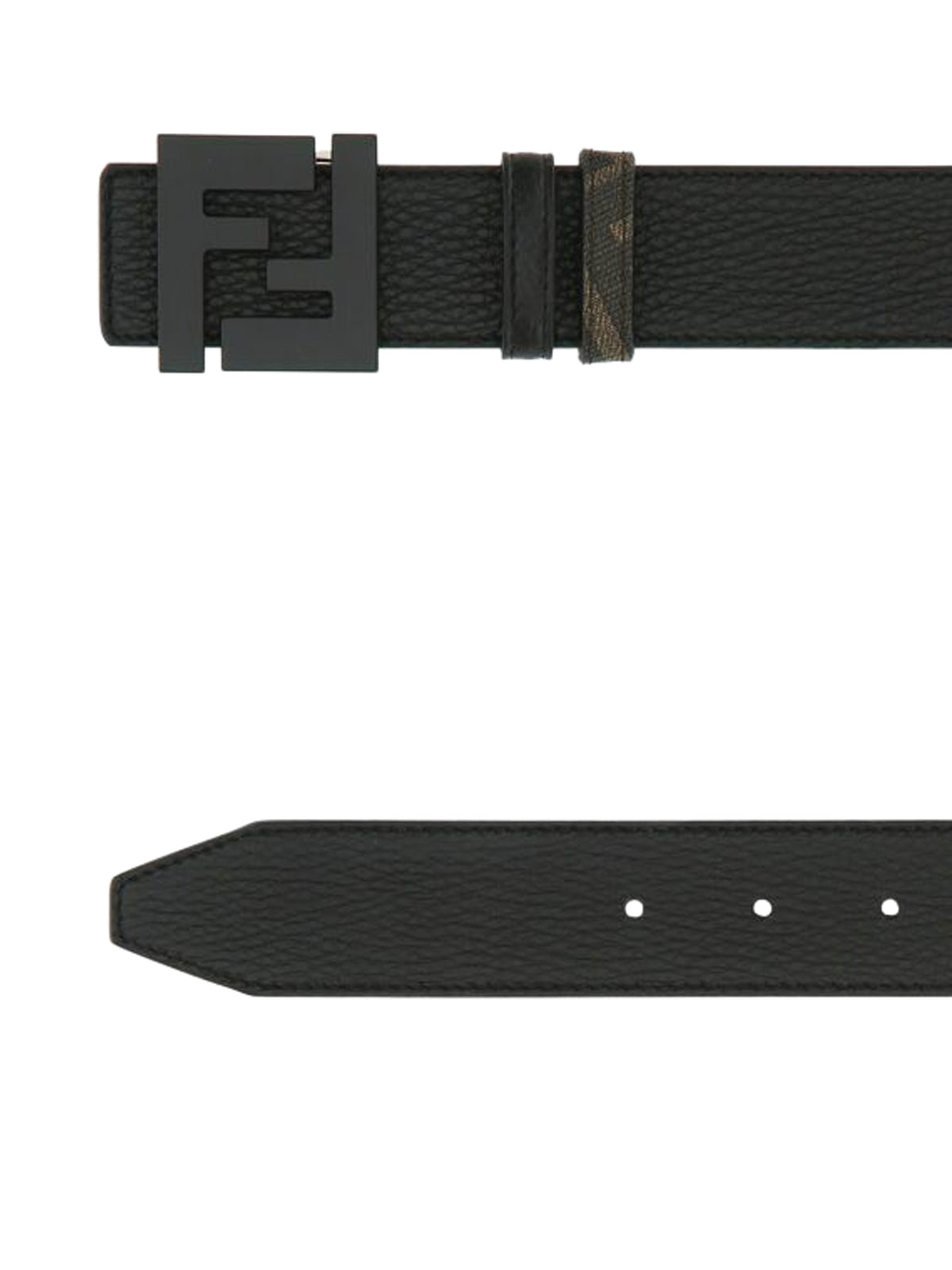 Black leather reversible belt