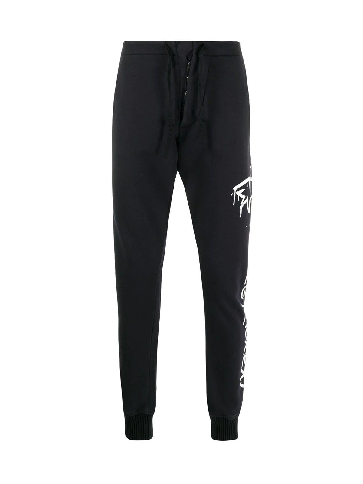 shark-print track trousers