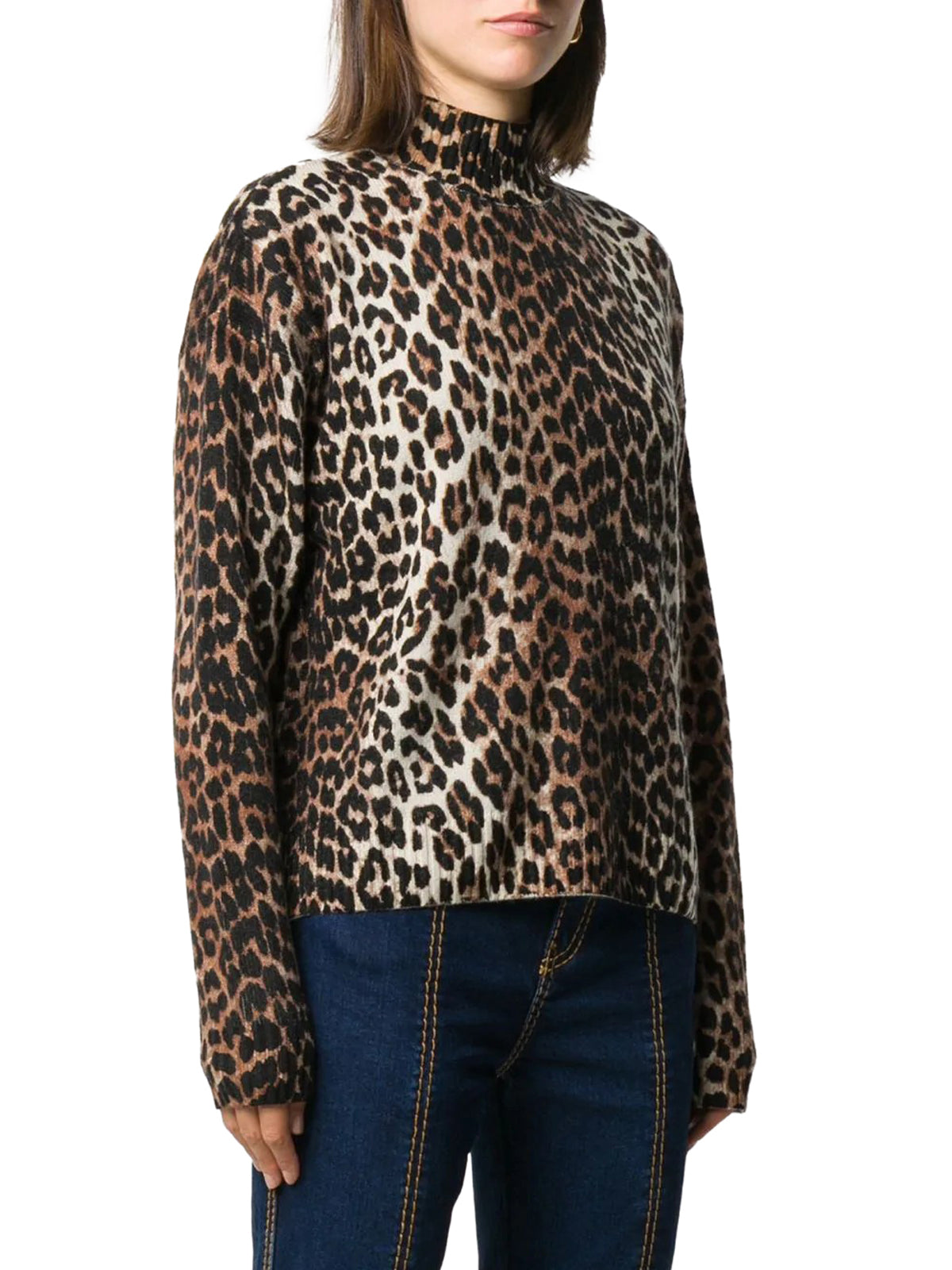 leopard-print high-neck jumper
