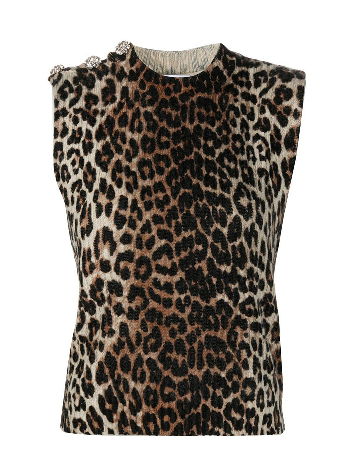 leopard-print sleeveless jumper