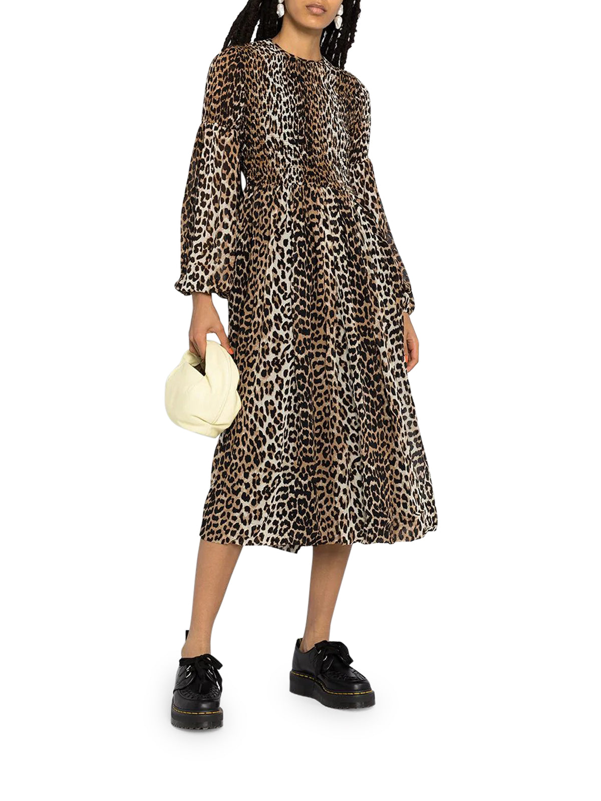leopard-print ruched dress