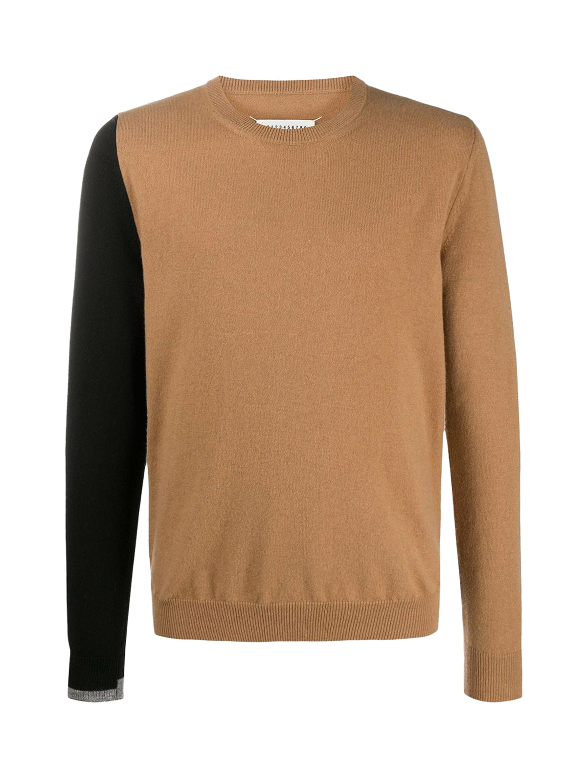 Round neck sweater with color-block design