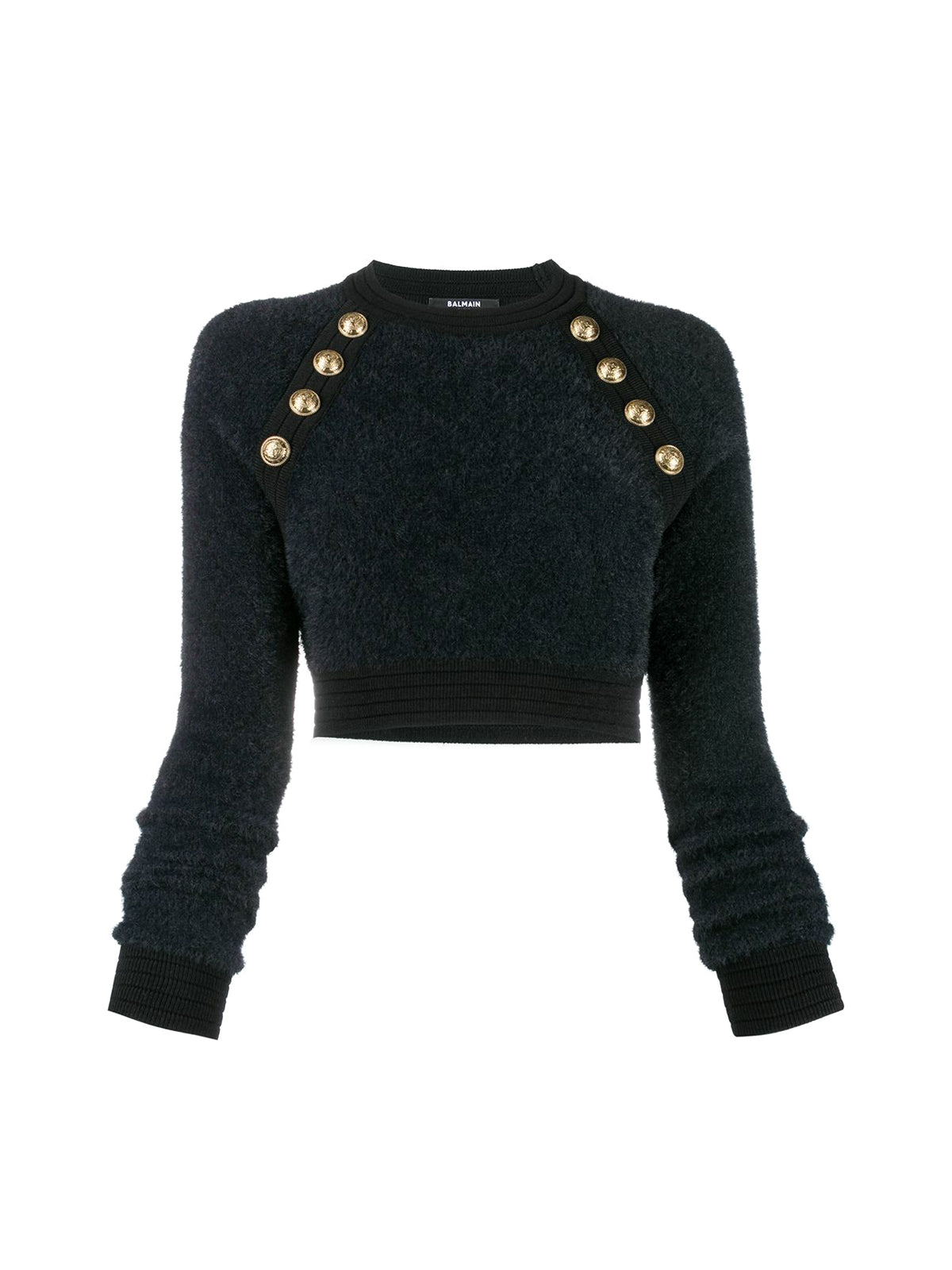 Cropped button-detail knit top