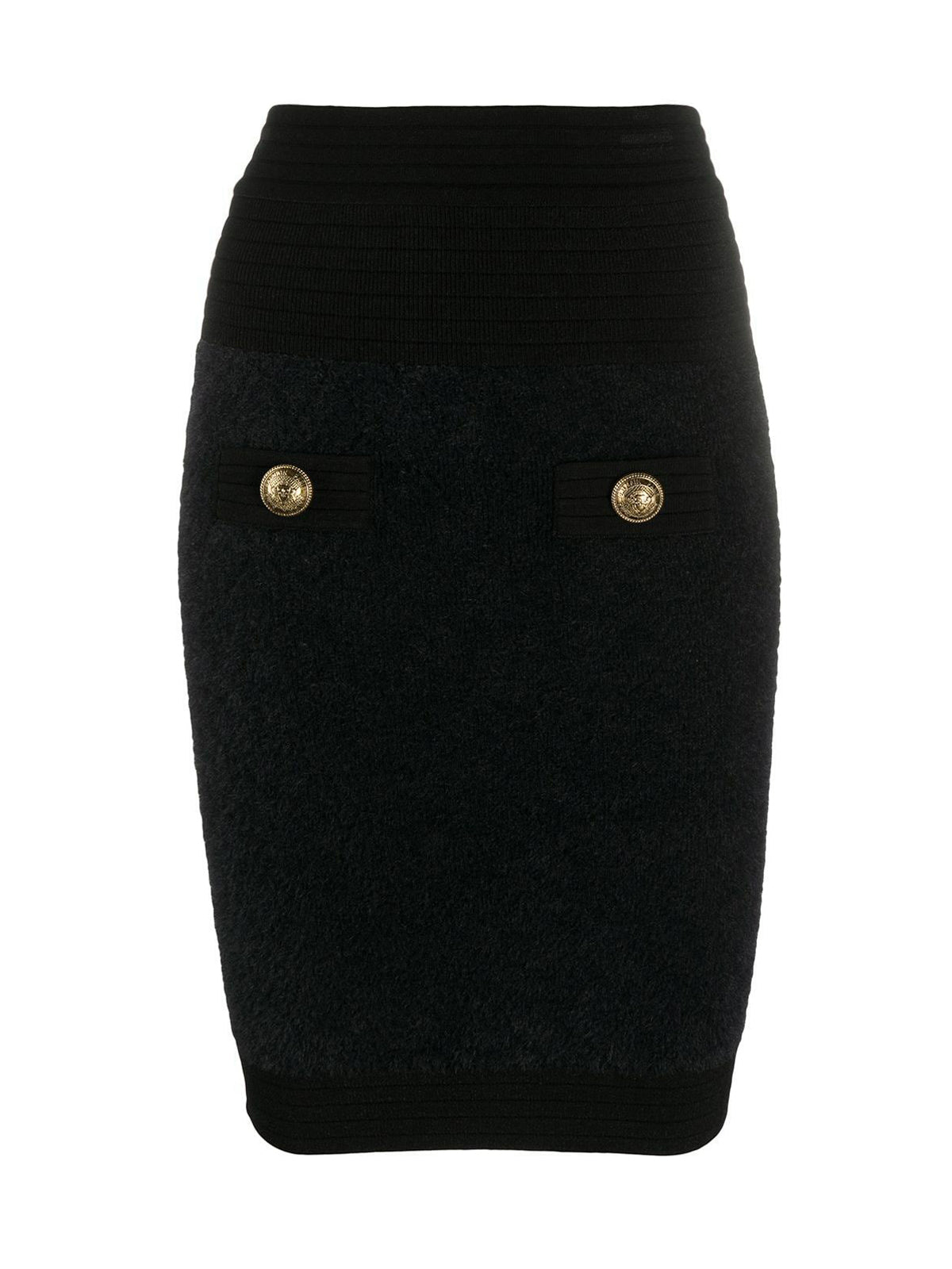 Skirt with embossed buttons