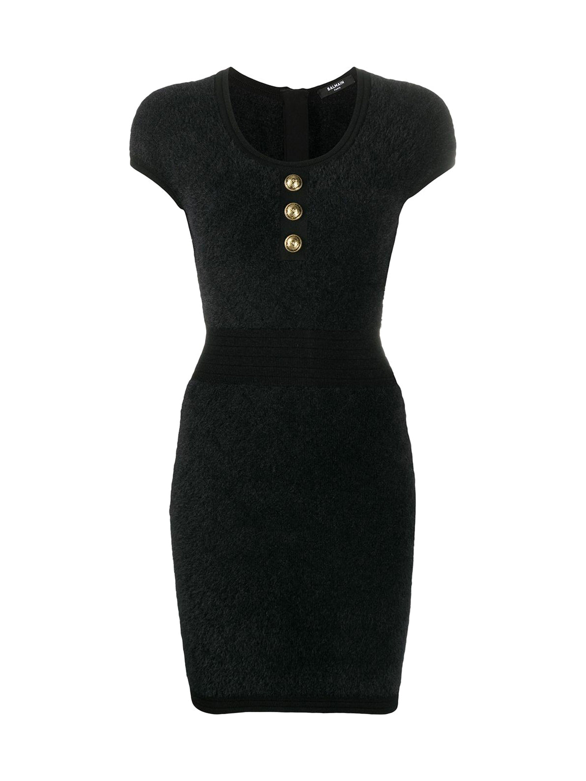 embossed-button knitted dress