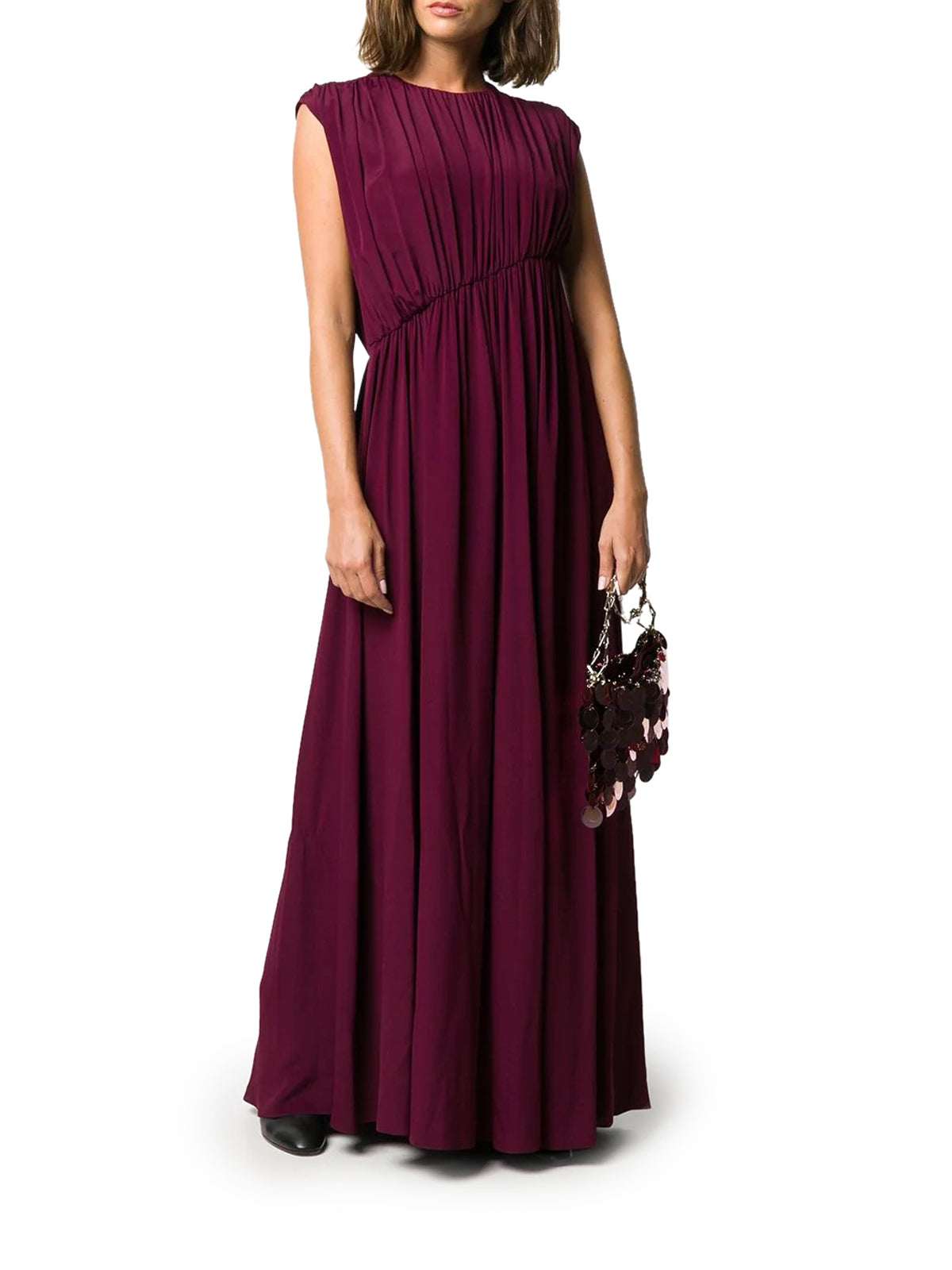 asymmetric gathered waist gown
