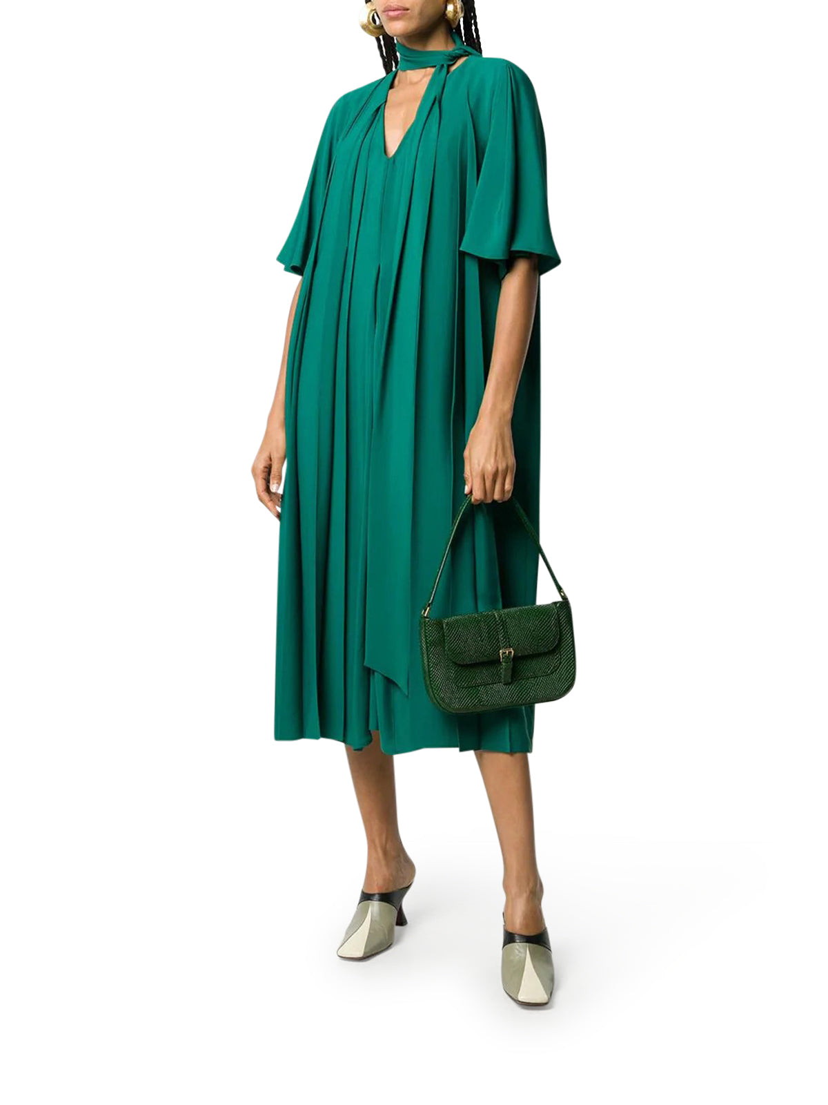 pleated midi shift dress
