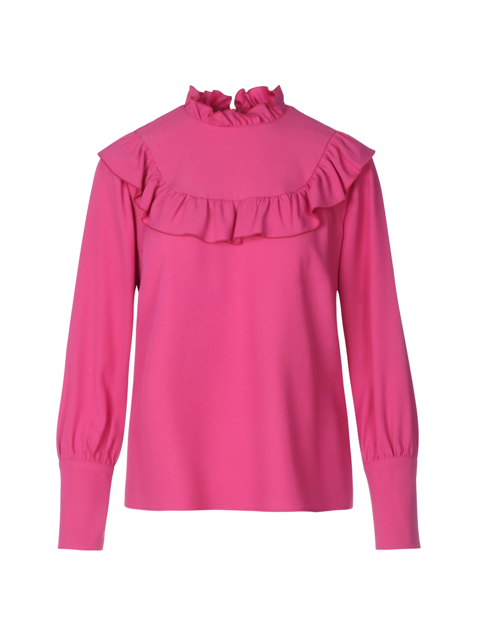 ruffled long-sleeved top