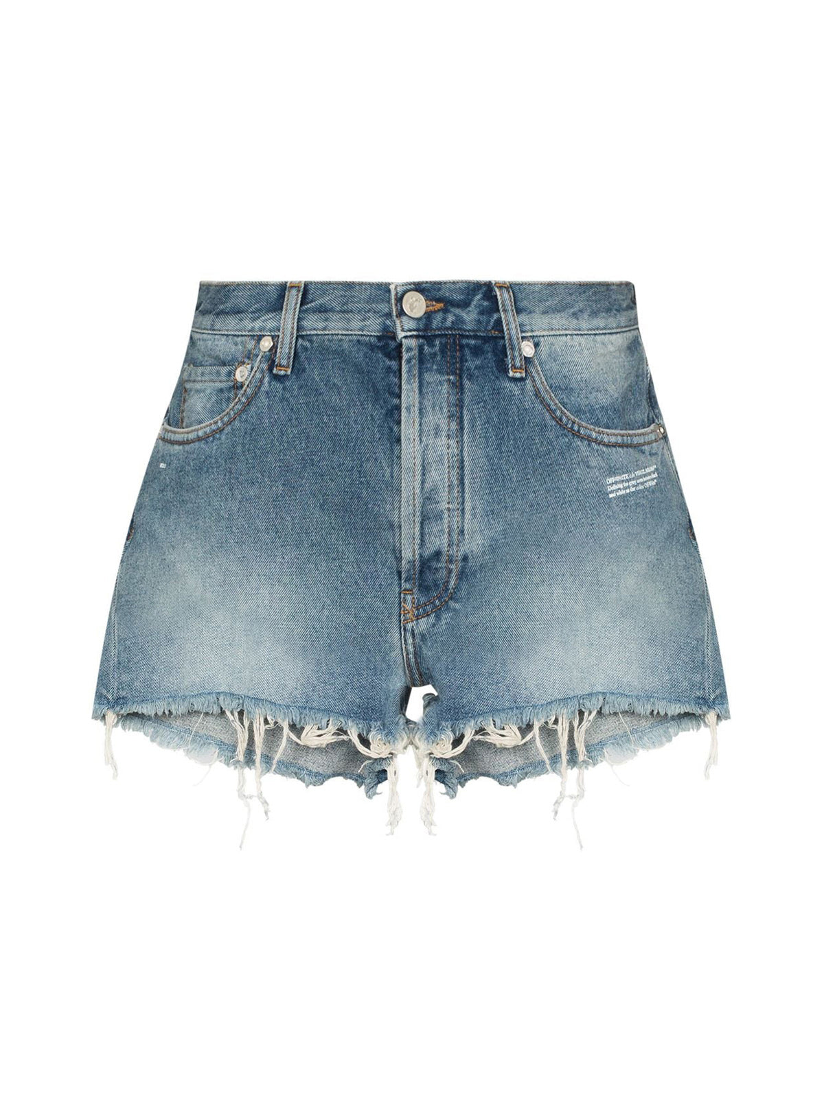 raw-hem denim shorts