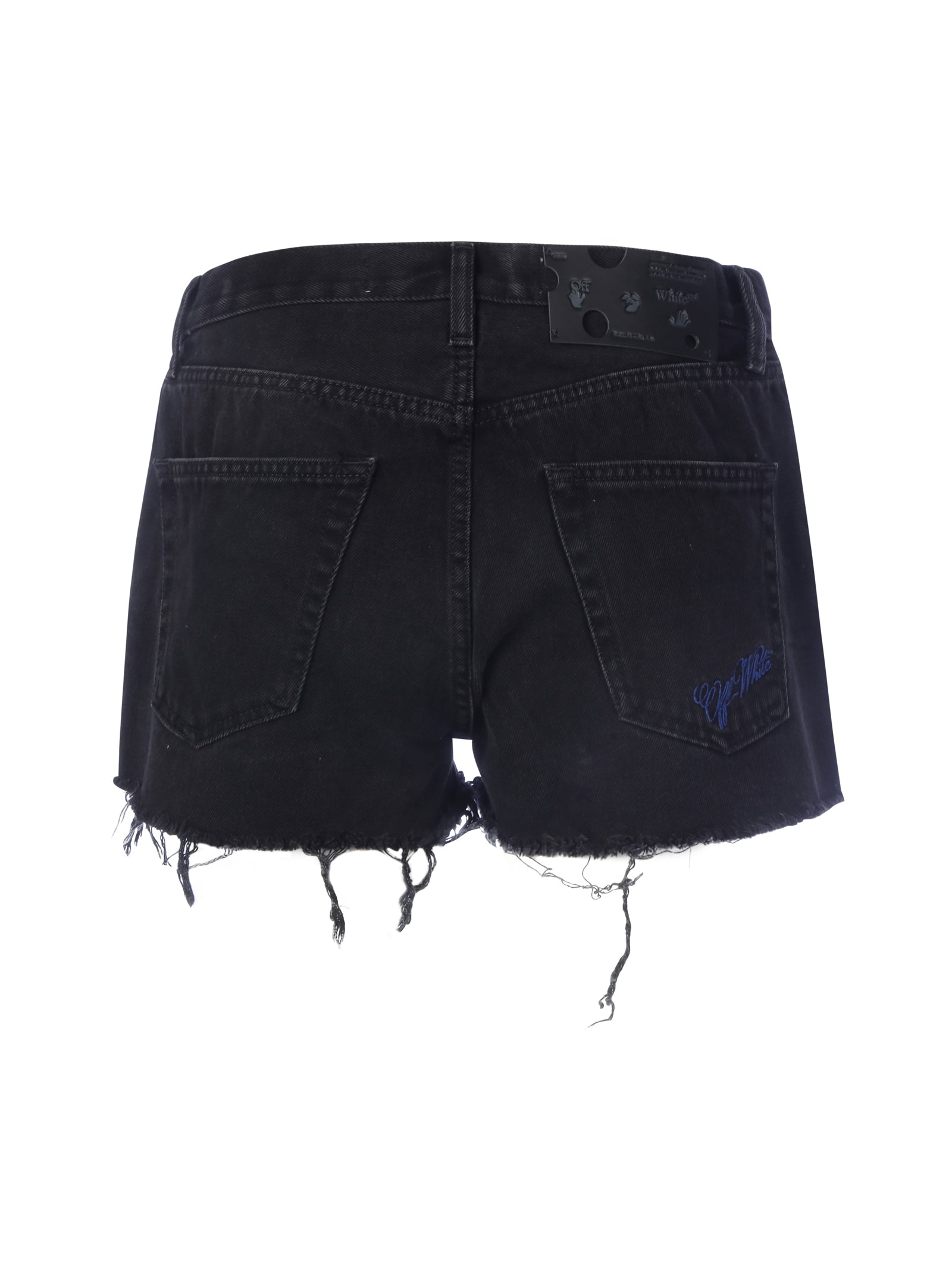 Off-White Frayed Hem Denim Shorts