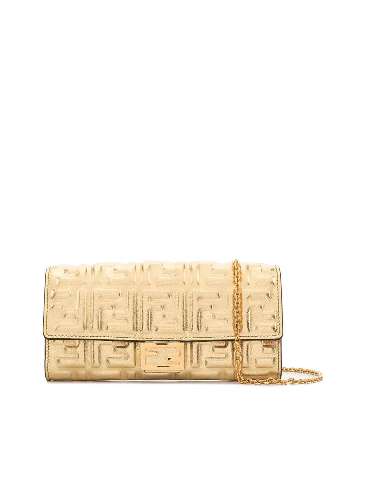 FF embossed metallic crossbody wallet bag