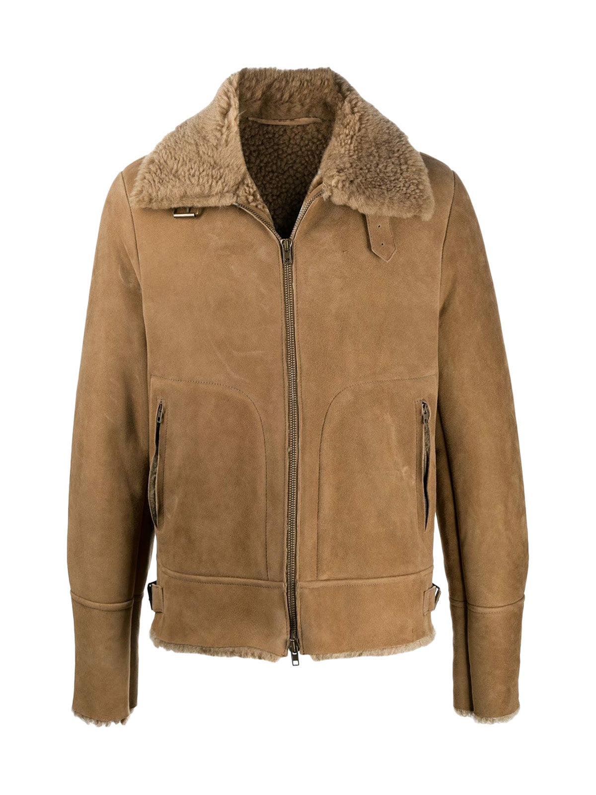 fur-collar zipped jacket