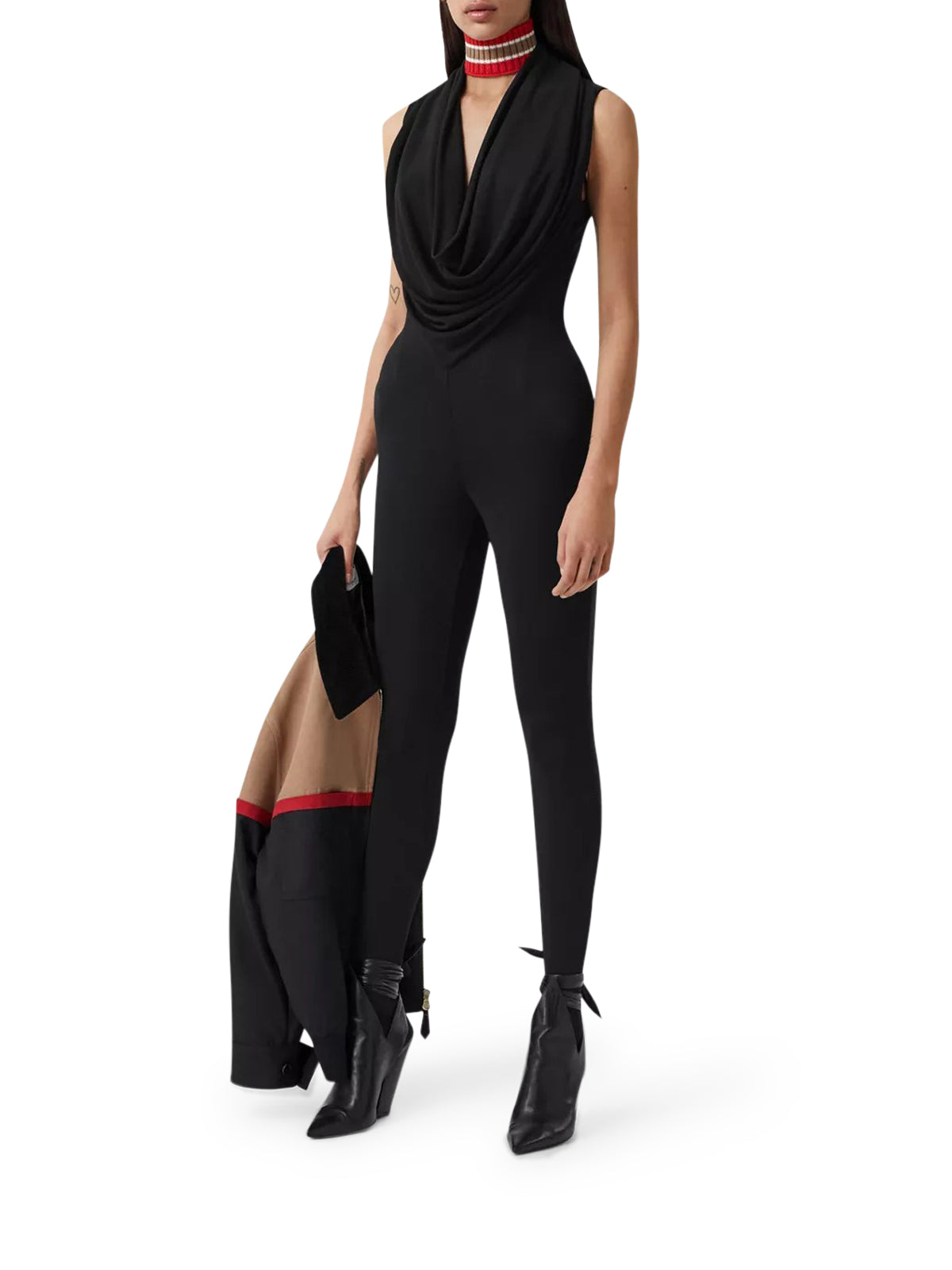 Shawl Neck Crepe Jersey Jumpsuit