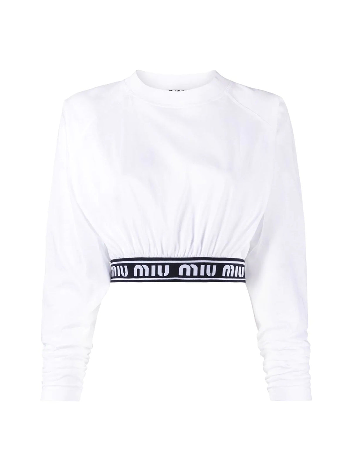 cropped logo tape T-shirt
