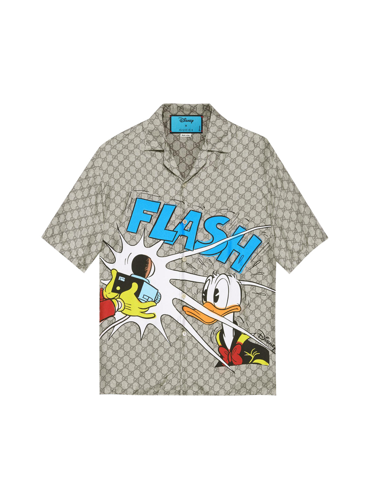 Silk bowling shirt with Donald Duck print Disney x Gucci